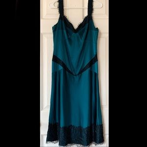 NWT DianeVF silk/lace turquoise/black dress